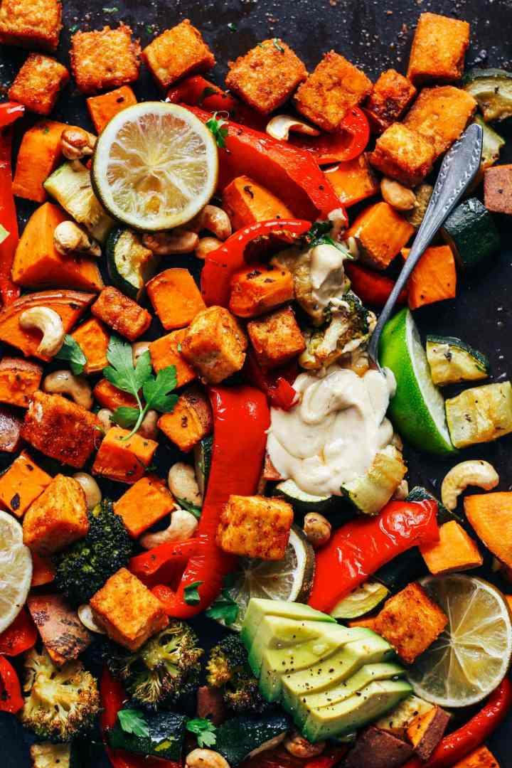 Sheet Pan Crispy Tofu with Thai Hummus