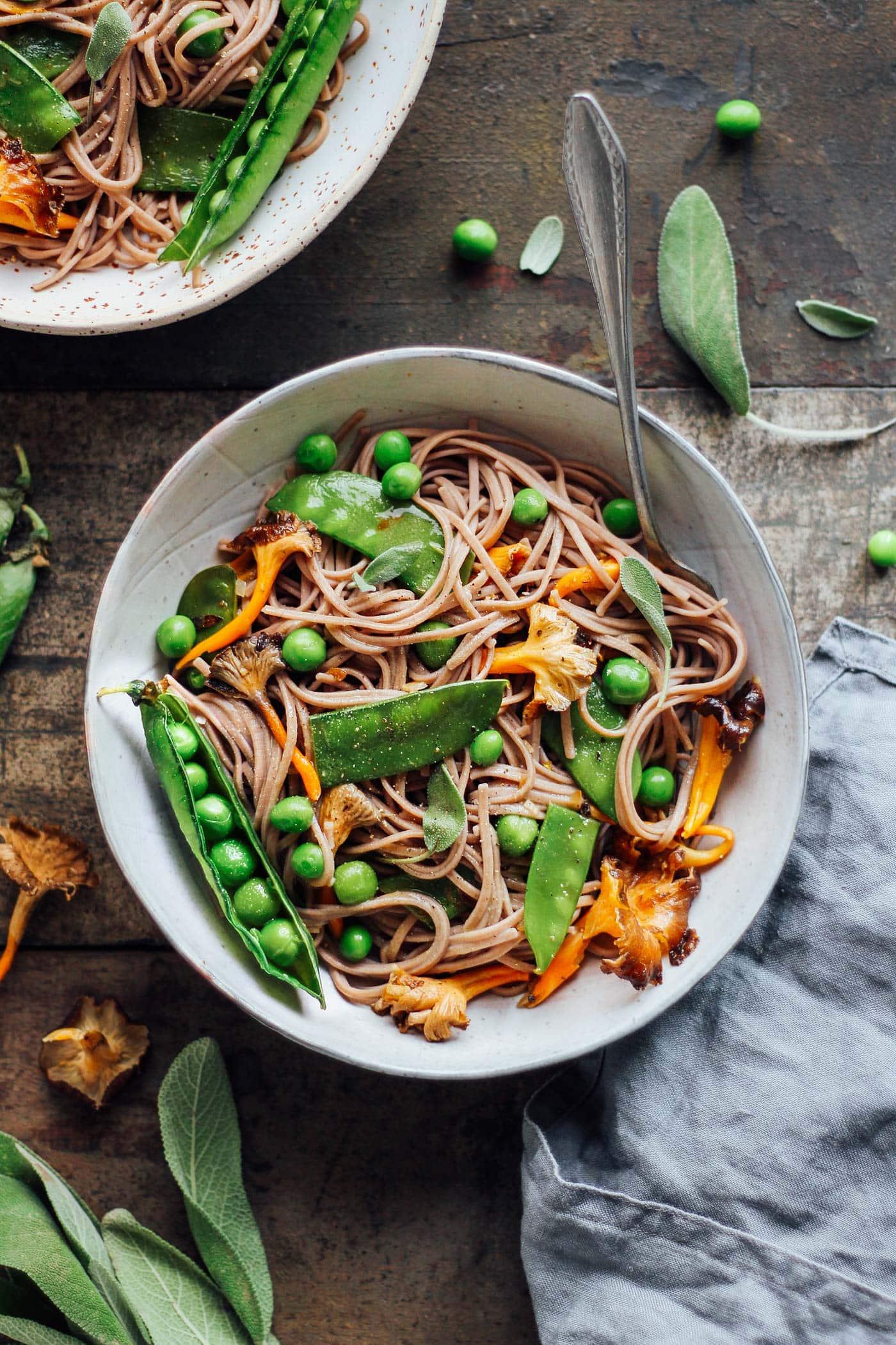 Snow Pea & Chanterelle Soba Noodles
