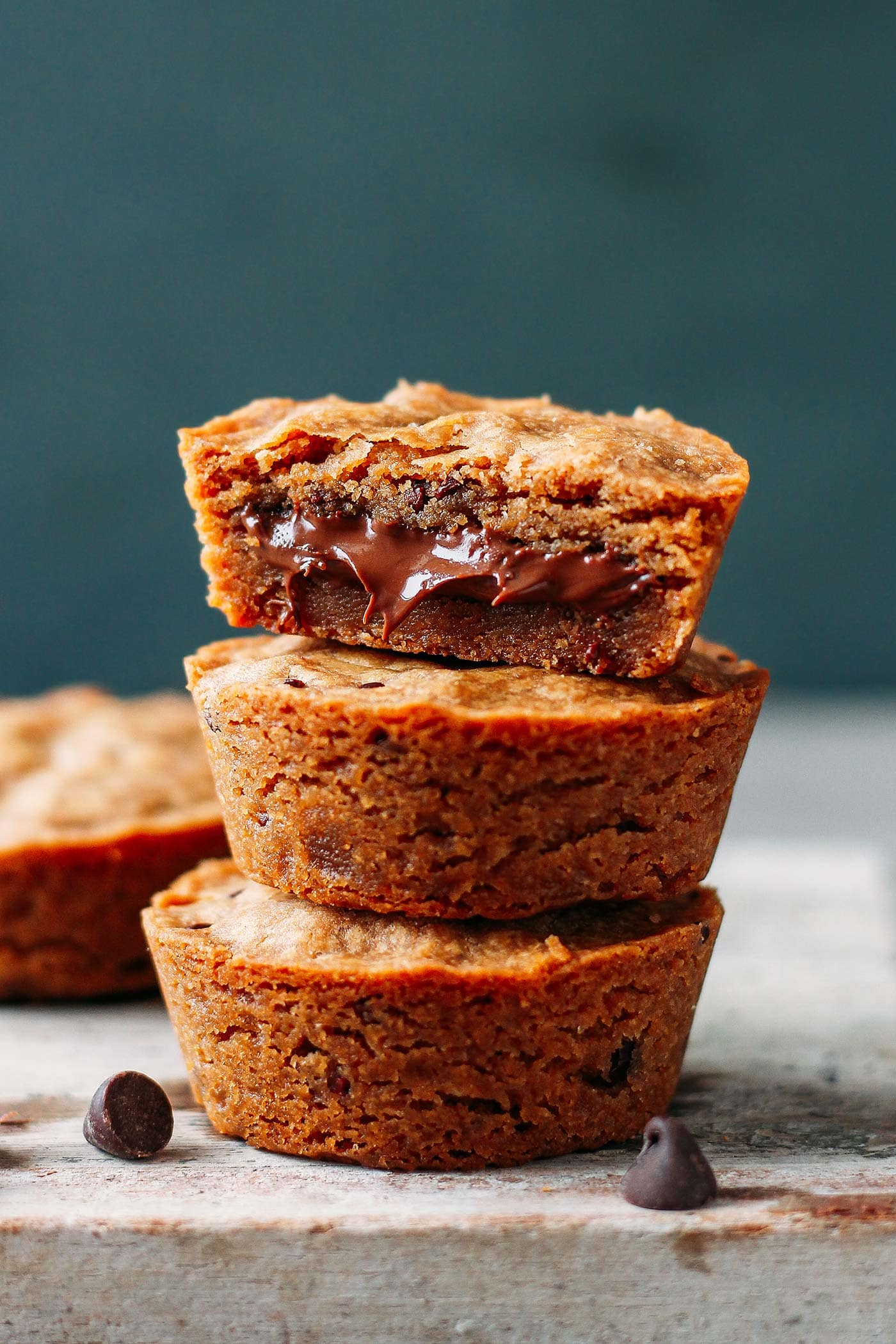 Nutella Stuffed Chocolate Chip Cookie Cups (Vegan + GF)
