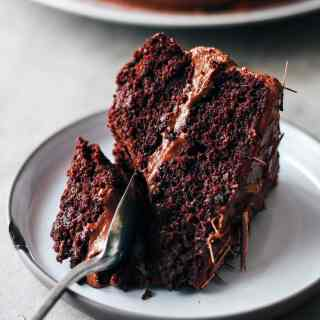 Fudgy Chocolate Layer Cake (Vegan + GF)