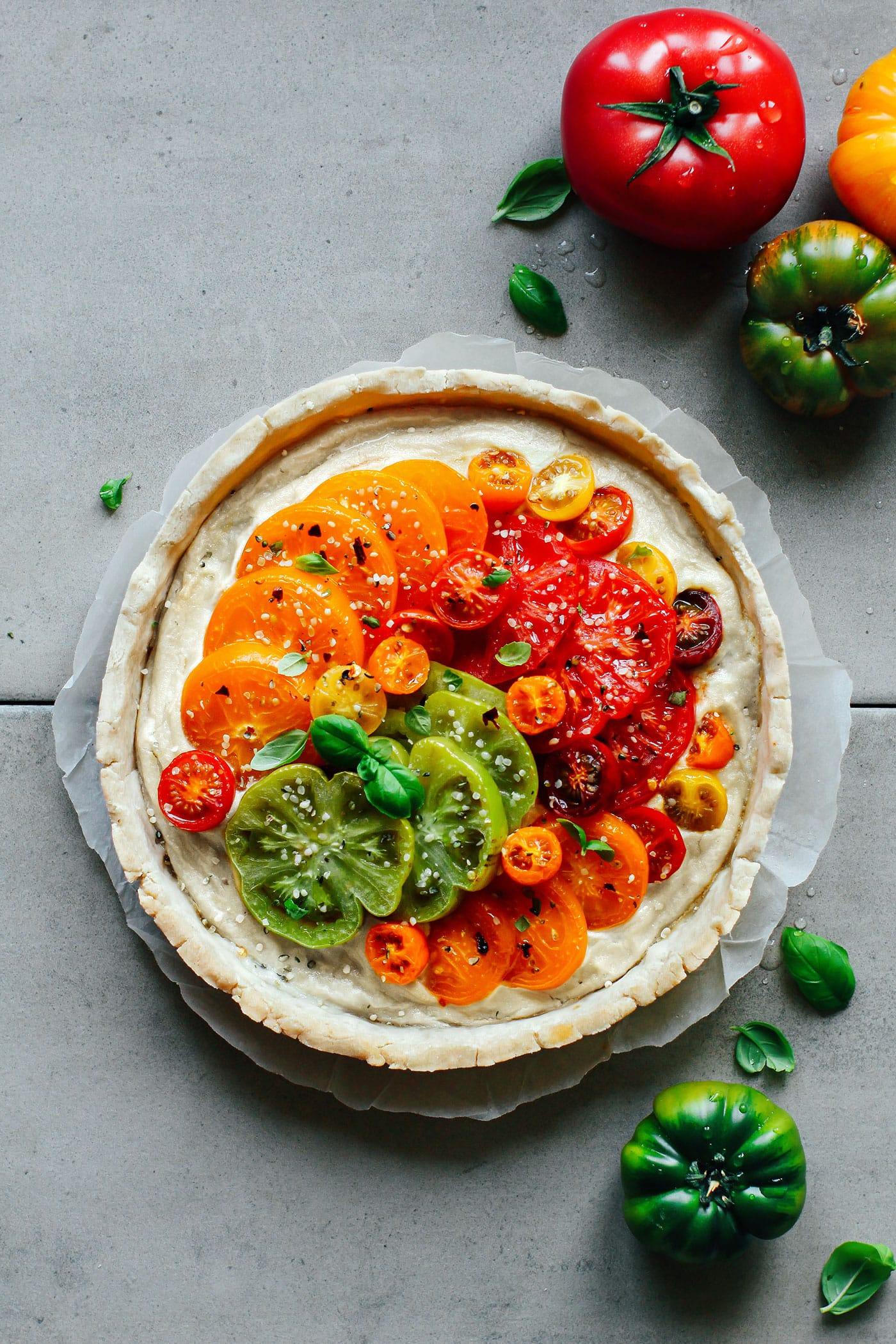 Heirloom Tomato Tart with Basil Cashew Cheese