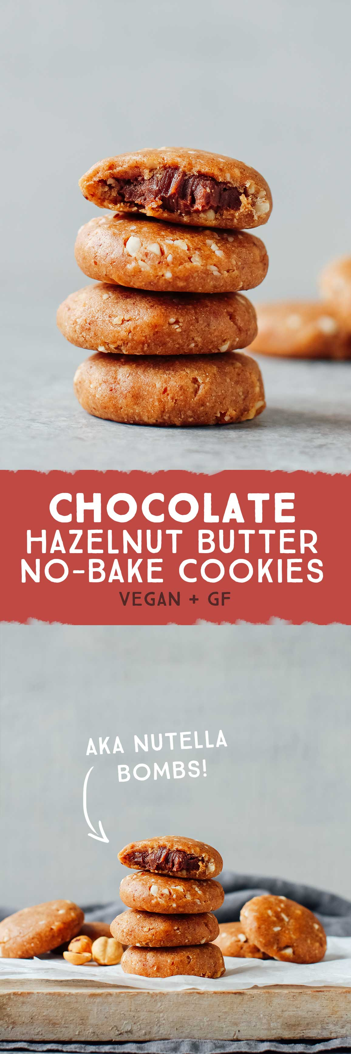 No-Bake Chocolate Hazelnut Butter Cookies (aka Nutella Bombs!)