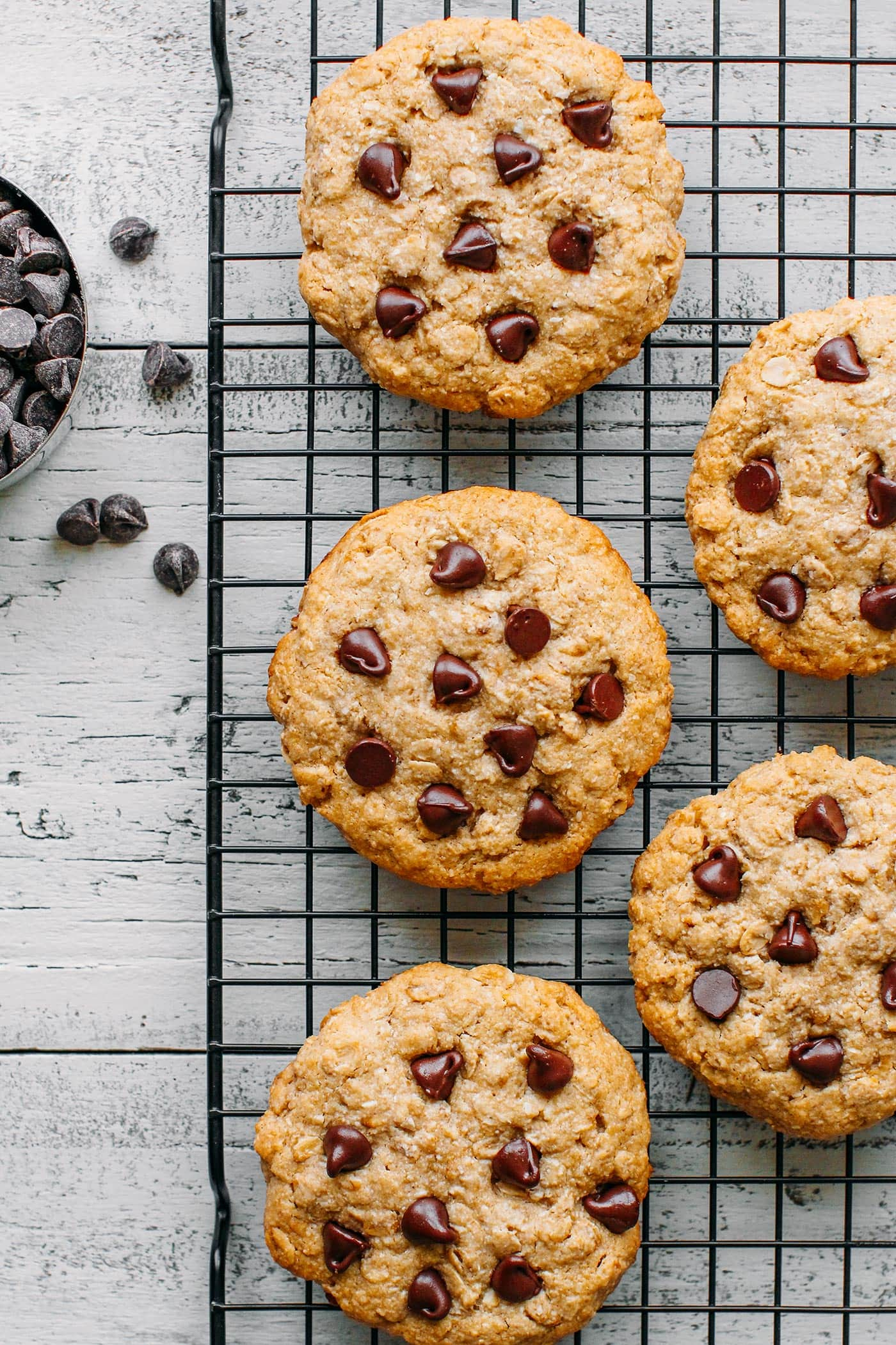 Healthy Oat & Coconut Chocolate Chip Cookies
