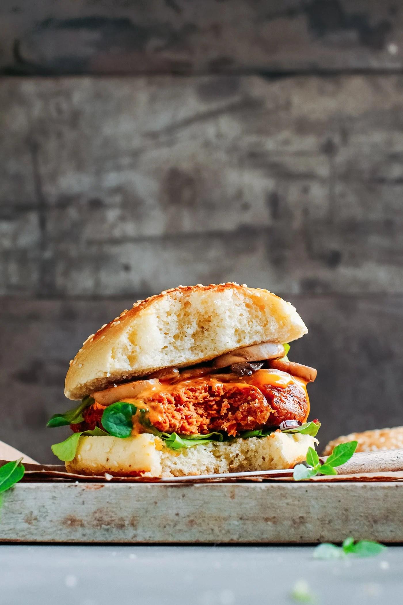 High Protein Vegan Burgers with mushrooms and sriracha mayo sauce.