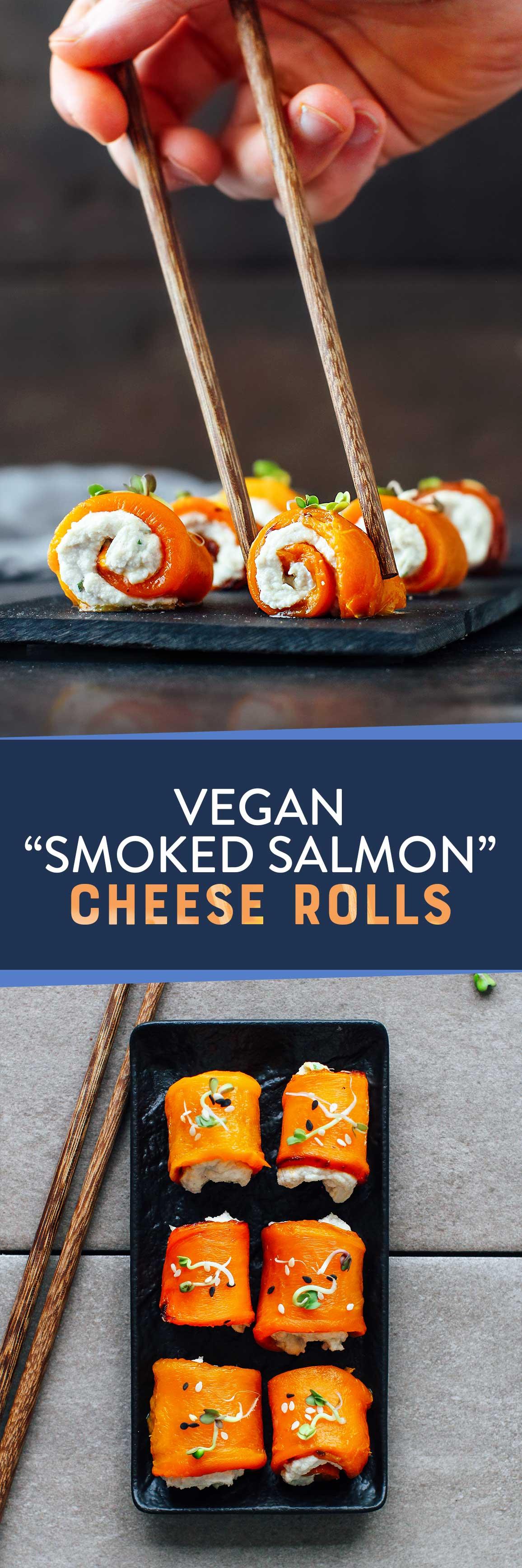 """Vegan Smoked """"Salmon"""" Cheese Rolls"""