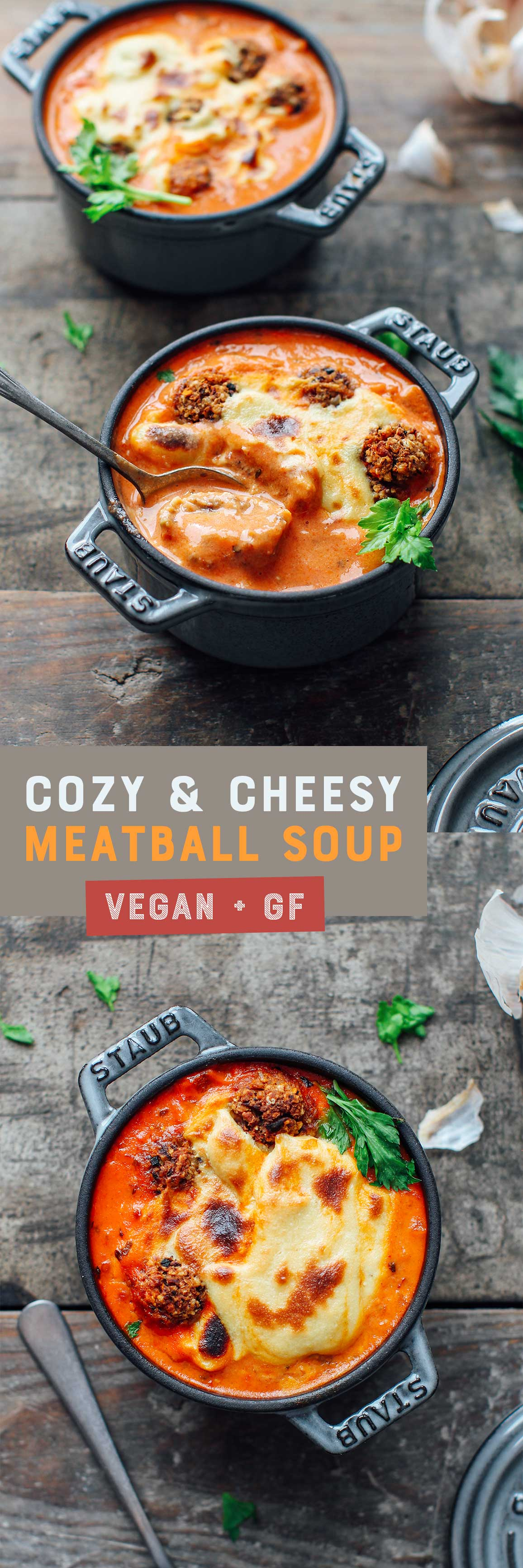 Cozy & Cheesy Vegan Meatball Soup