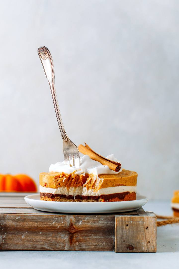Creamy Pumpkin & Chocolate Cheesecake (Vegan + GF)
