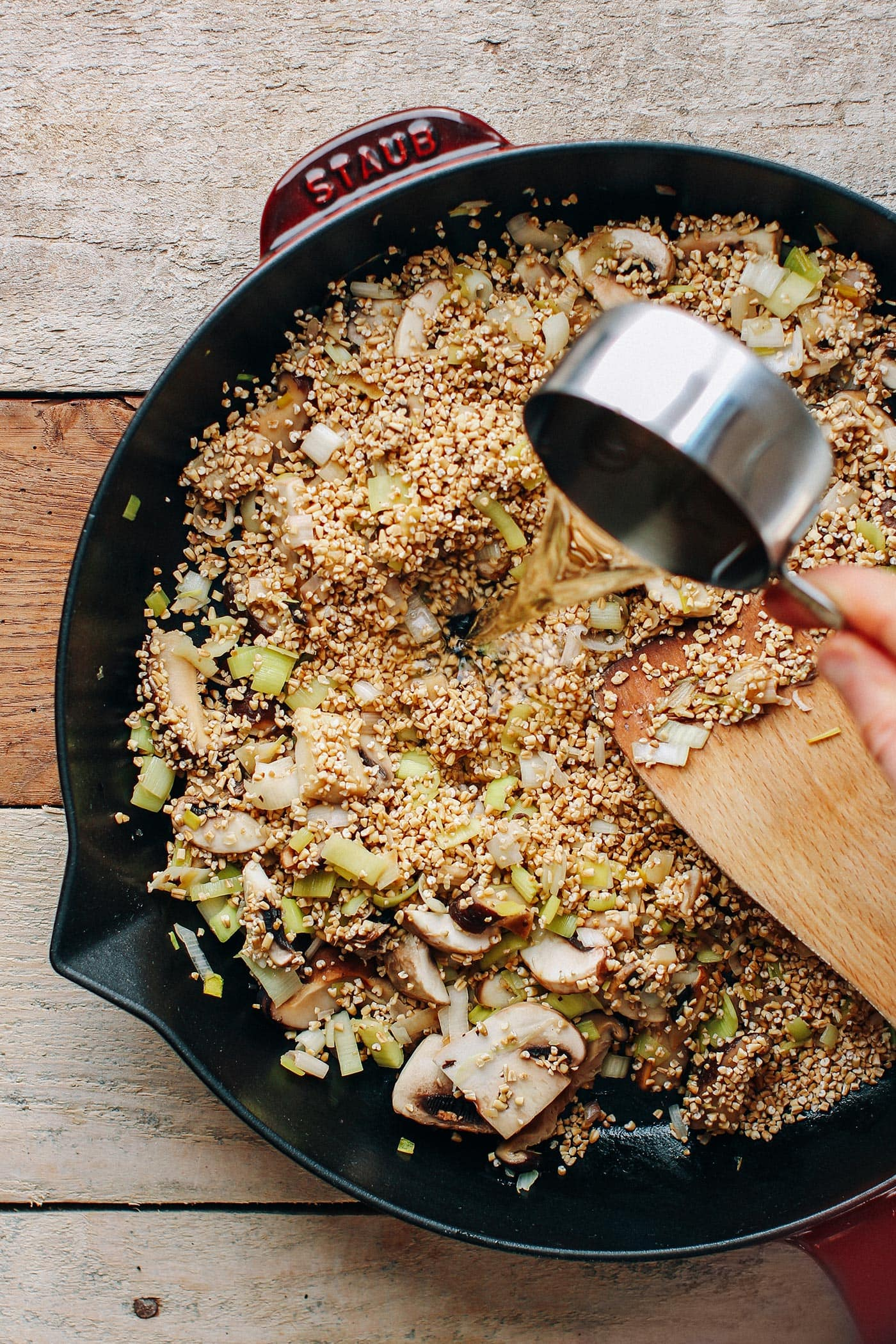 Hasselback Butternut Squash with Steel-Cut Oats Mushroom Risotto