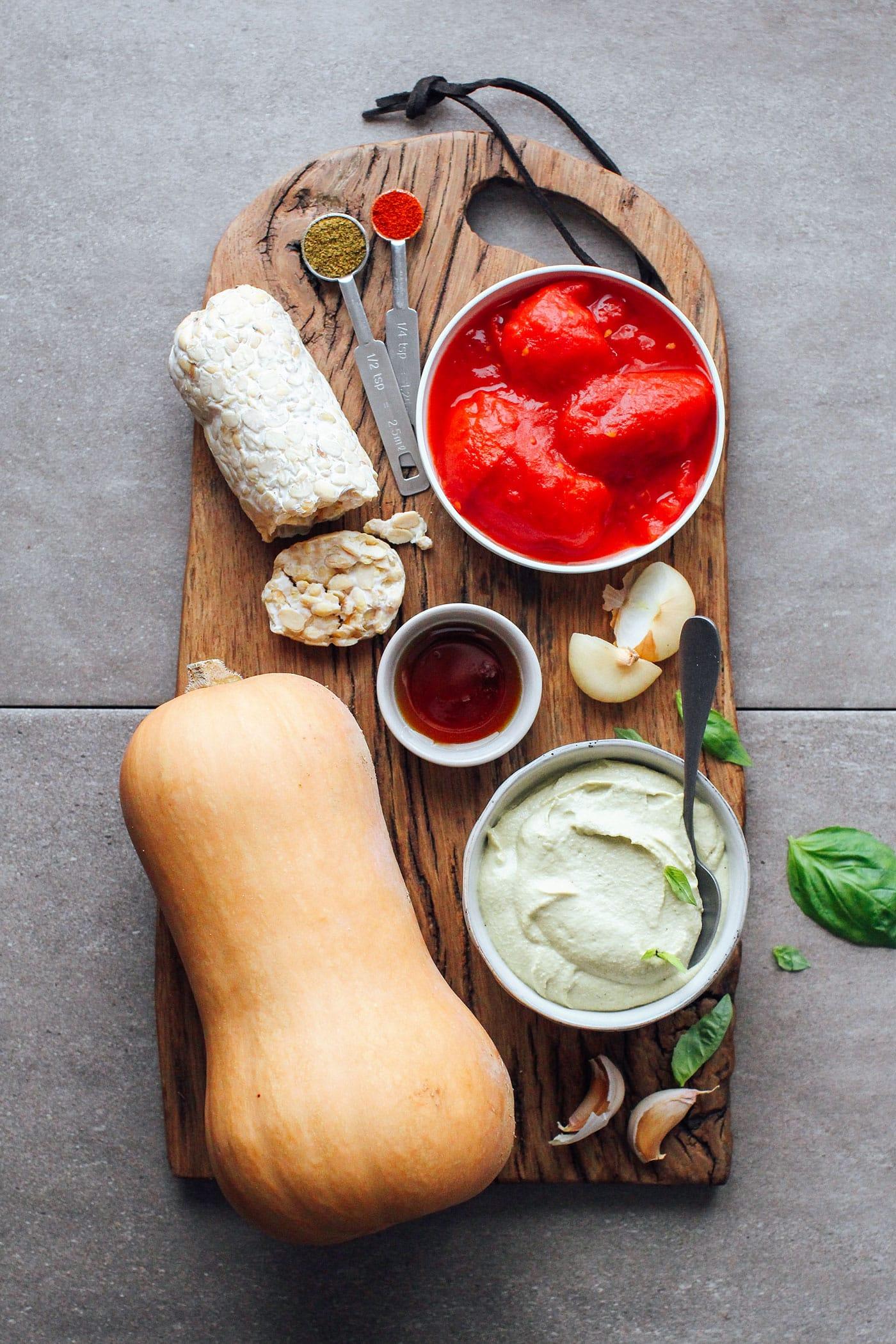 Tempeh & Pesto Butternut Squash Lasagna