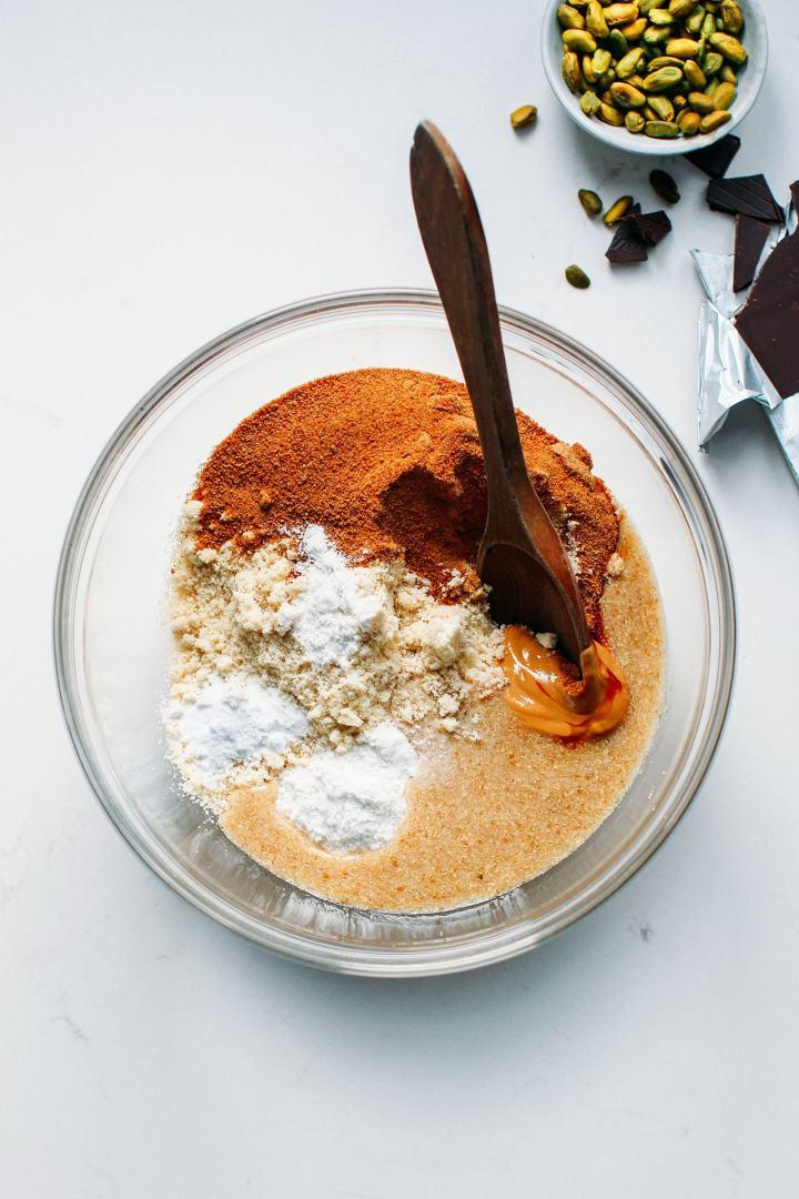 Amazing Pistachio & Chocolate Blondies (Vegan, GF, Paleo)