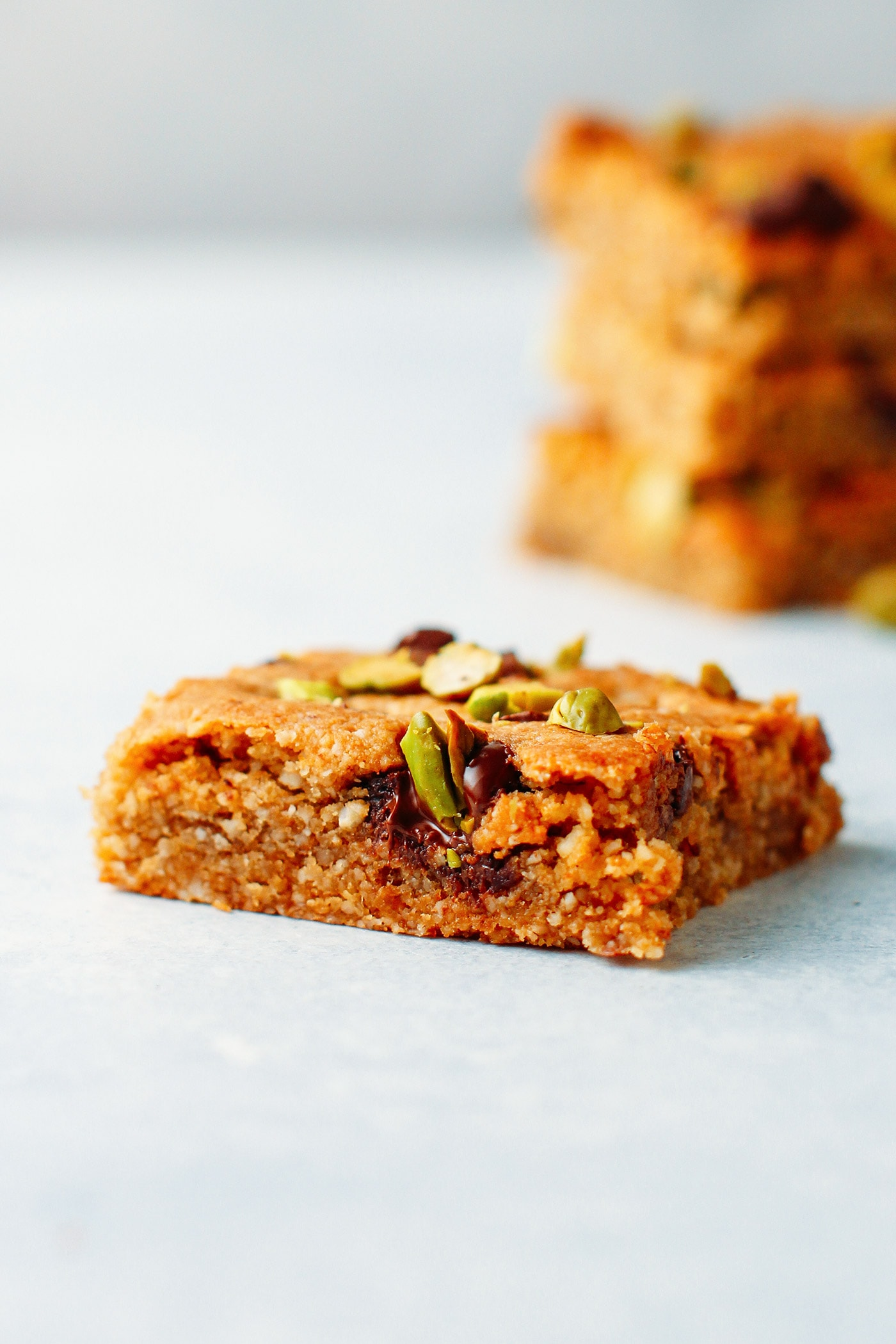 Amazing Pistachio & Chocolate Blondies (Vegan, GF, Paleo)