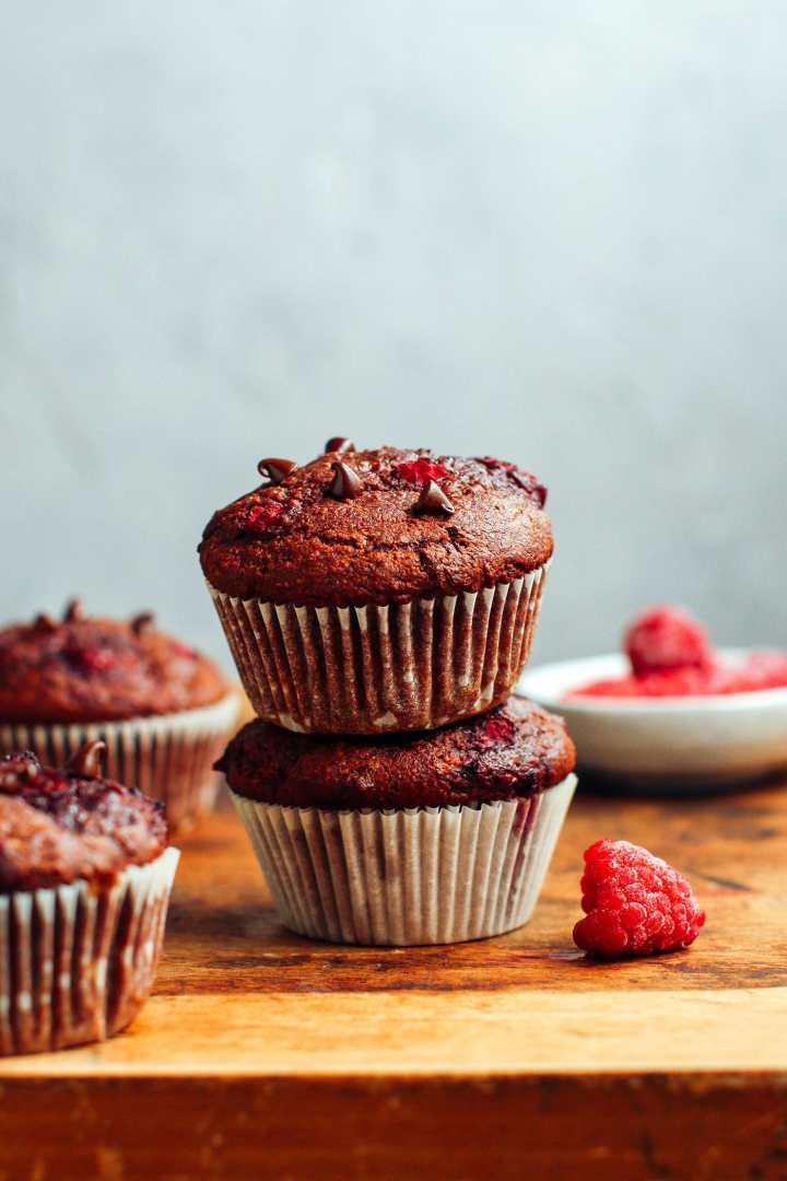 Double Chocolate Raspberry Banana Muffins