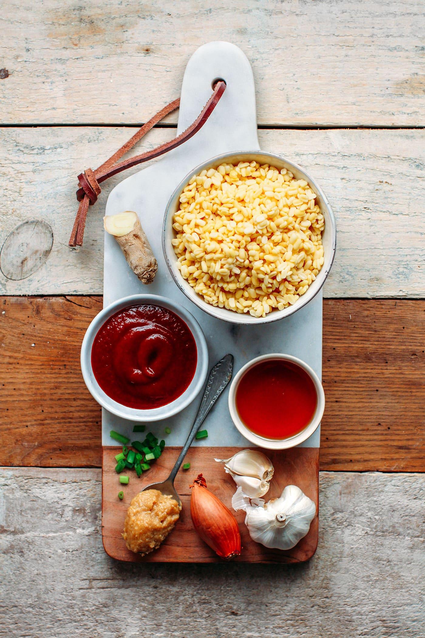 Sriracha Miso Mung Bean Soup