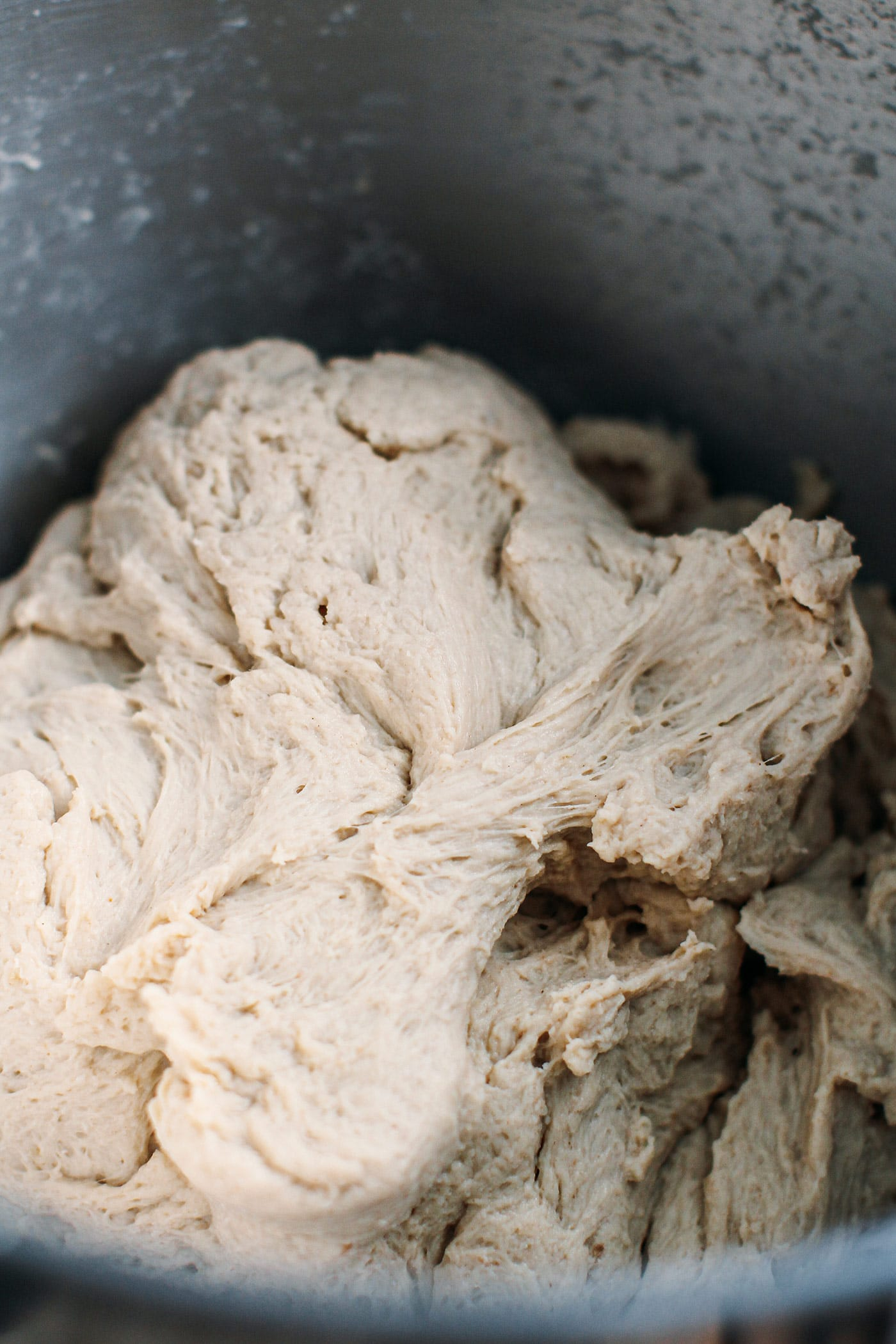 Vegan chicken seitan dough that looks fibrous.