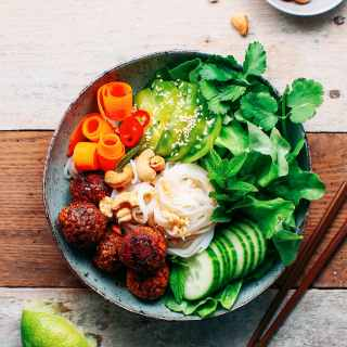 Vegan Meatball & Rice Noodle Salad