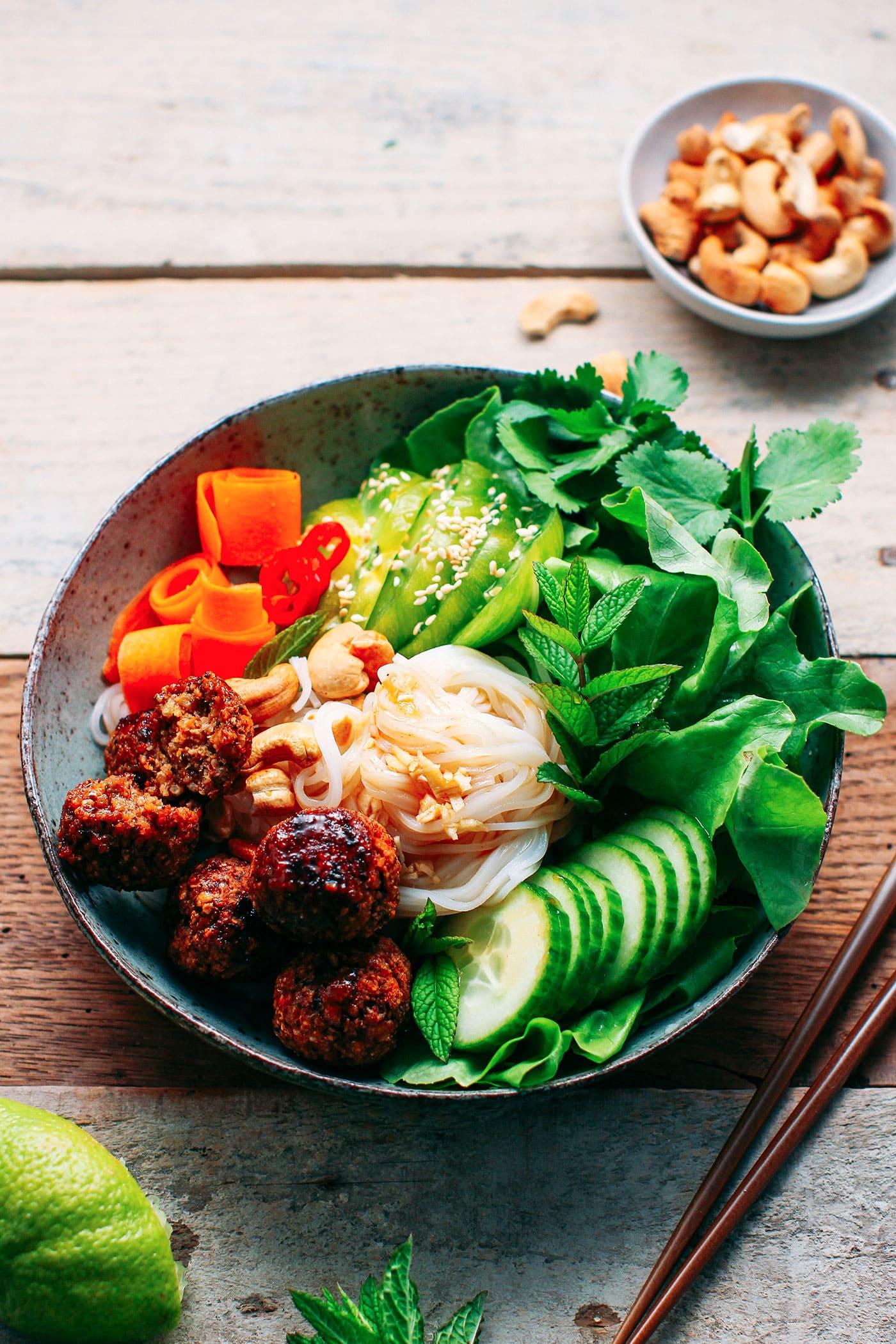 Vegan Meatball & Rice Noodle Salad