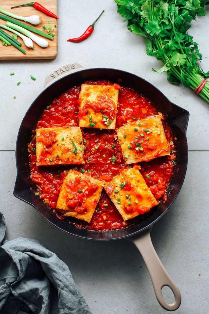 Stuffed Tofu in Tomato Sauce