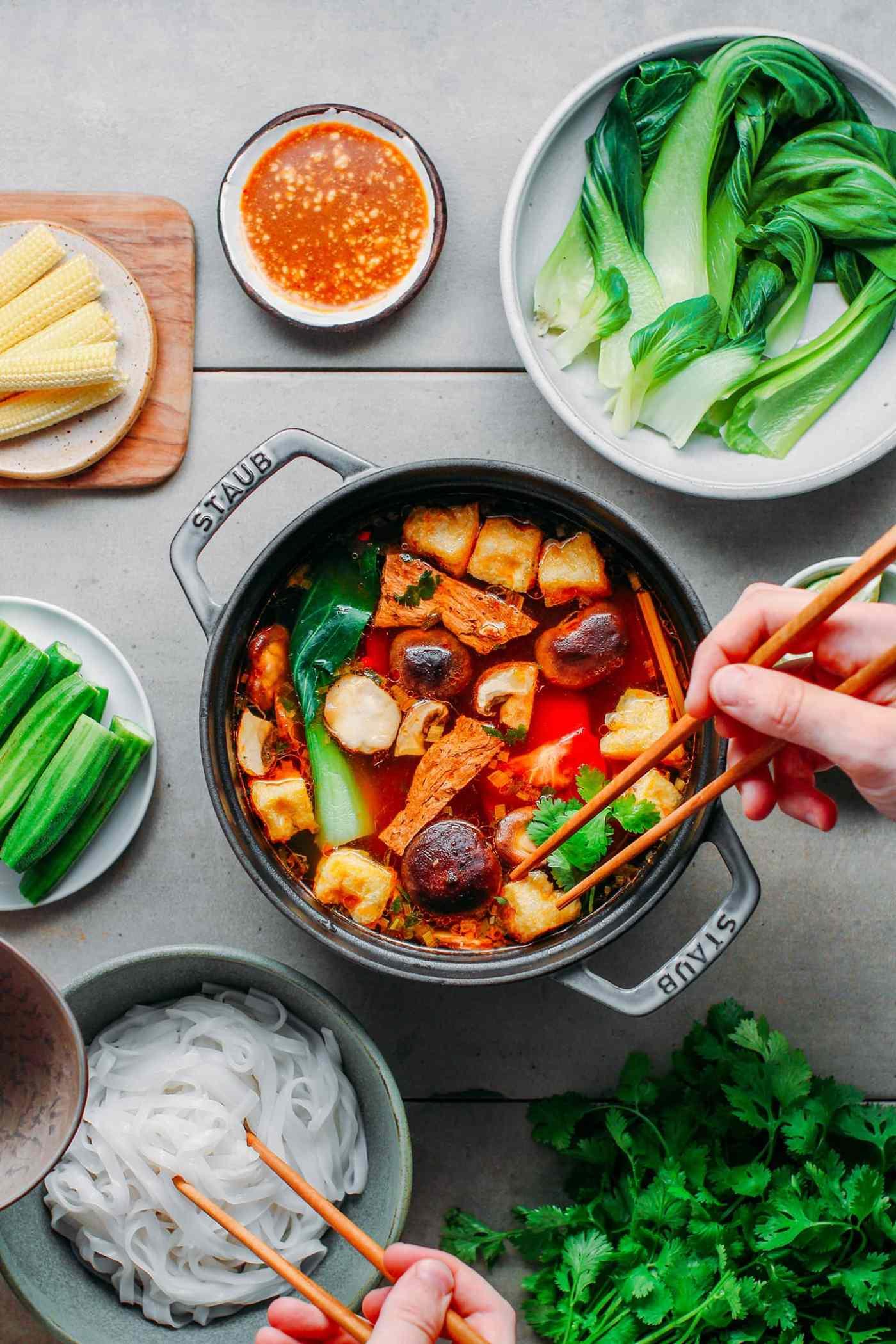 Spicy Vegan Hot Pot Full Of Plants