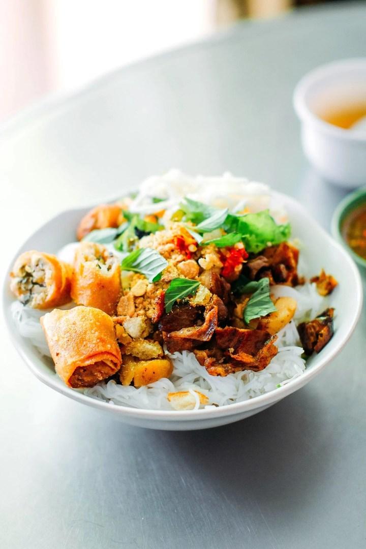 A Guide to Eating Vegan in Viet Nam - Bún Thịt Nướng Chả Giò