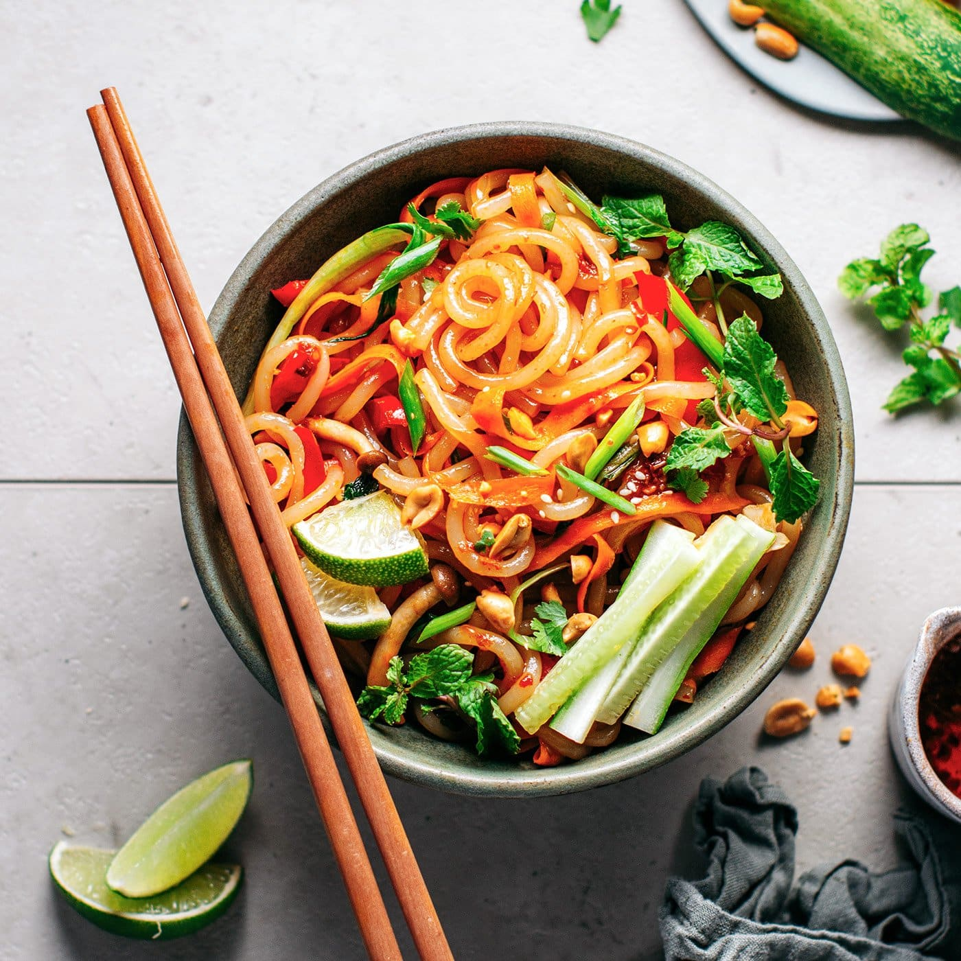 Satay Stir Fry Udon Noodles Full Of Plants