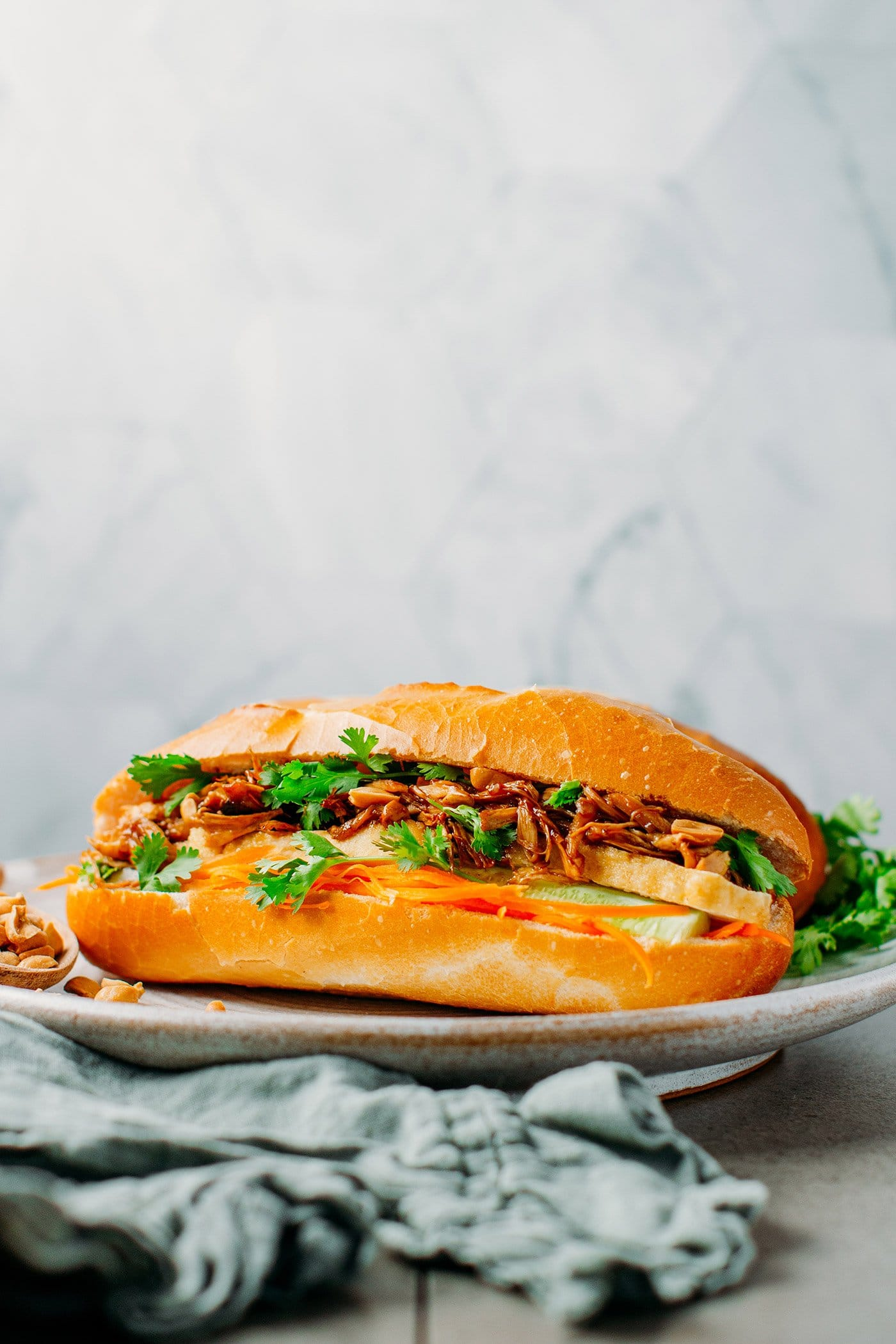 Vegan Pulled Mushroom Banh Mi