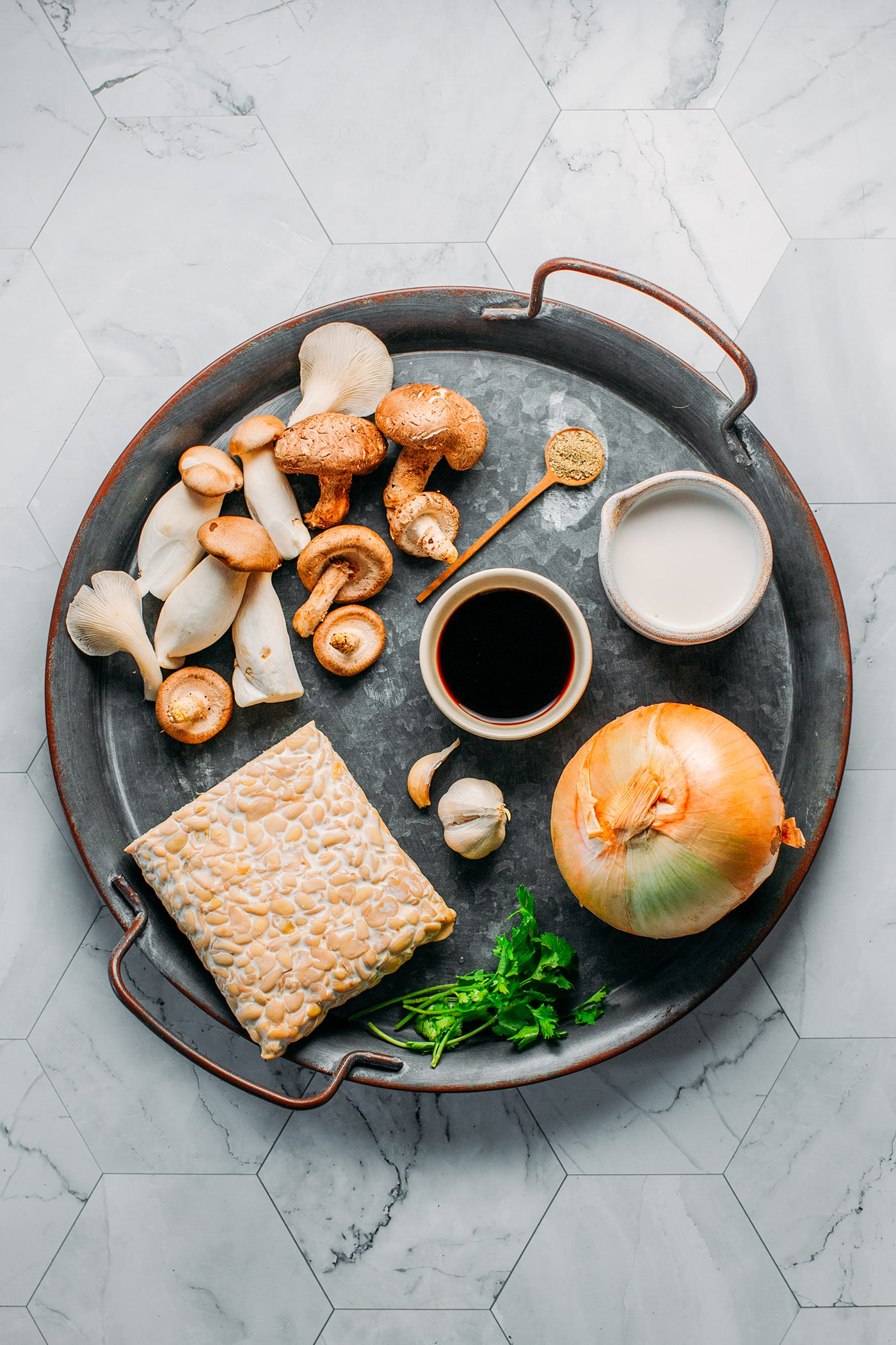 Tempeh in Creamy Mushroom Coconut Sauce