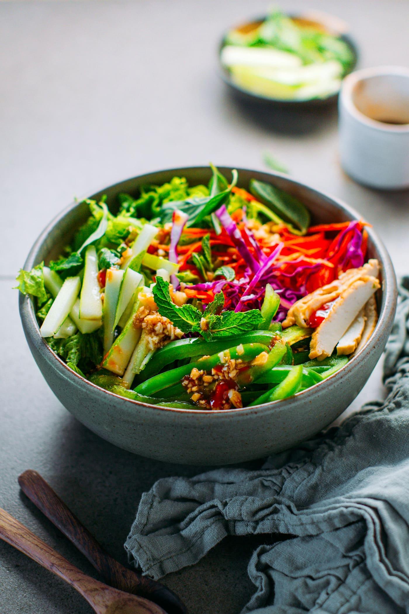 Easy Mint & Basil Green Salad