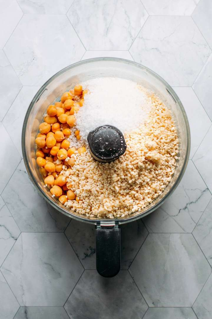 Chickpeas, salt, and koji in a food processor.