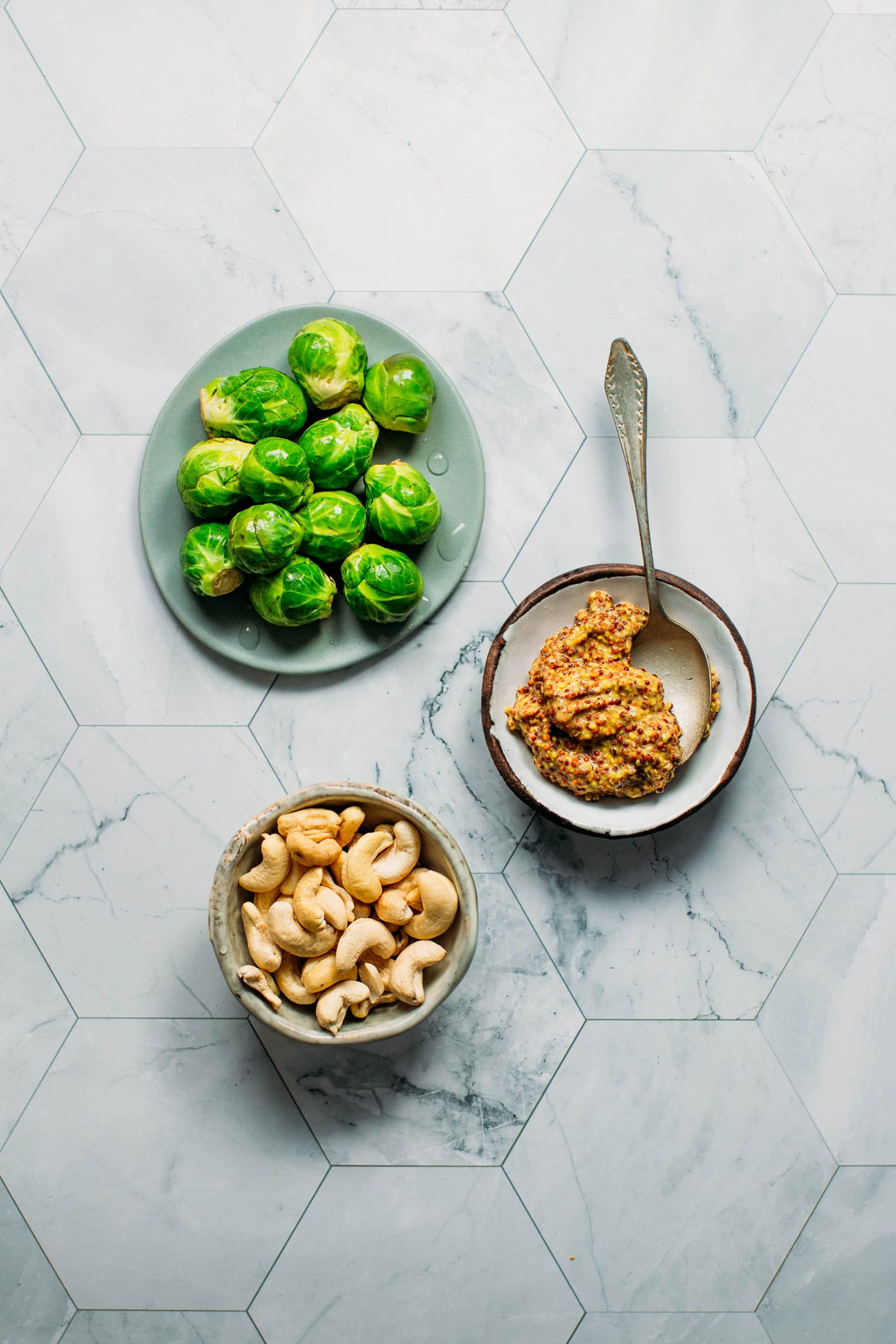 Roasted Brussels Sprouts with Mustard Sauce