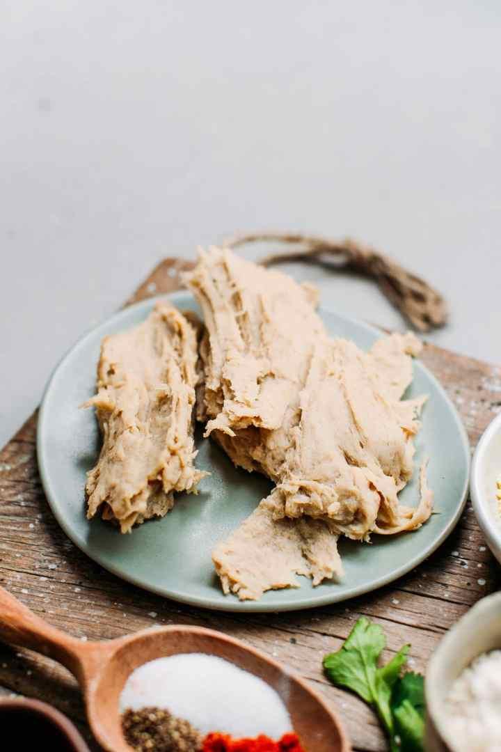 Vegan chicken made from seitan on a plate.