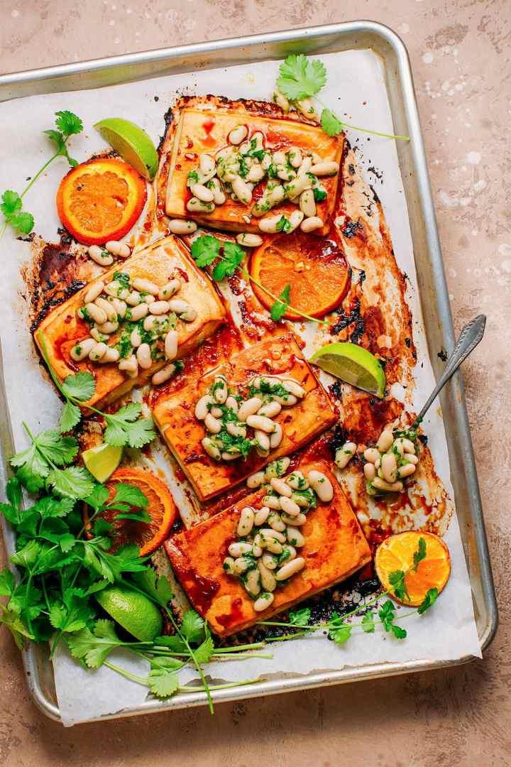 Sheet Pan Glazed Orange Tofu with Herby White Beans