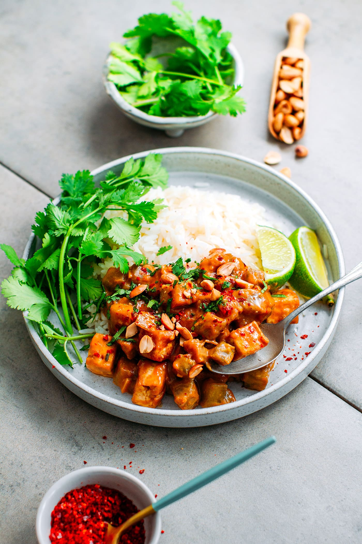 Eggplant & Tofu with Peanut Satay