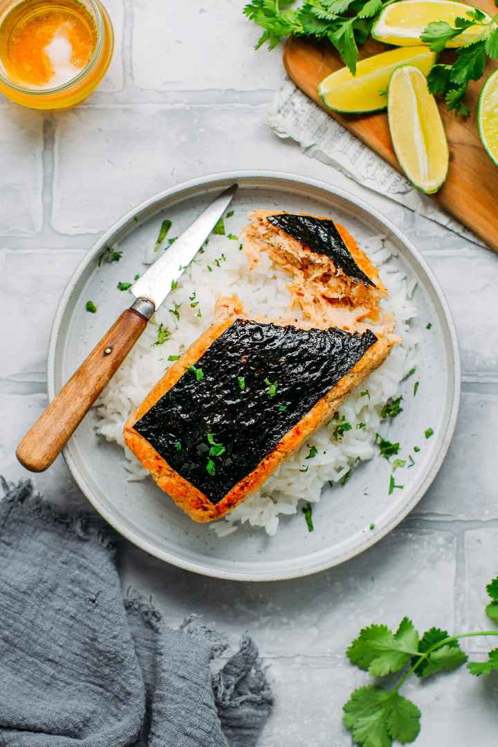Vegan Fish Fillet on a bed of rice.