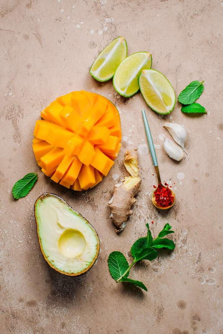 Ingredients to make mango avocado gazpacho.
