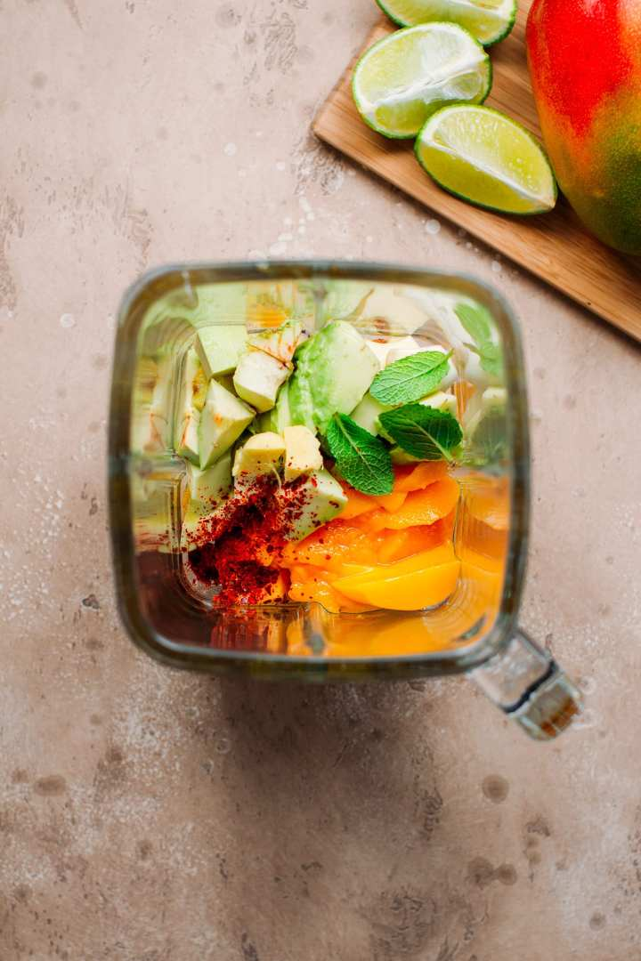 Avocado, mango, mint, and chili to make gazpacho.