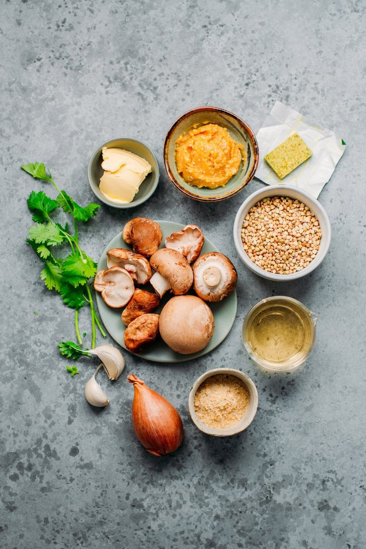 Mushrooms, buckwheat, miso, shallots, garlic, and butter.