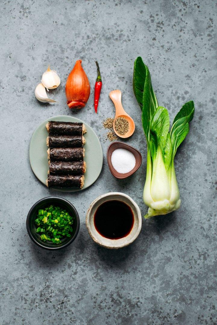 Ingredients to prepare vegan fish rolls.
