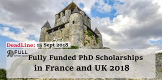 Fully Funded PhD Scholarships in France and UK 2018