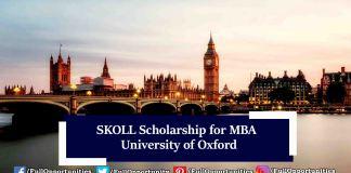 SKOLL Scholarship for MBA 2020 at University of Oxford