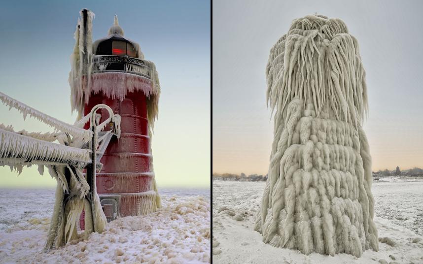 2. Скованный льдом маяк после сильного шторма в Южном Хейвене, штат Мичиган. Сосульки от огромных волн застыли в сюрреалистичных формах. После каждой новой волны вода замерзала практически мгновенно, превратив маяк в необычный столб. Майк Клайн / BARCROFT.