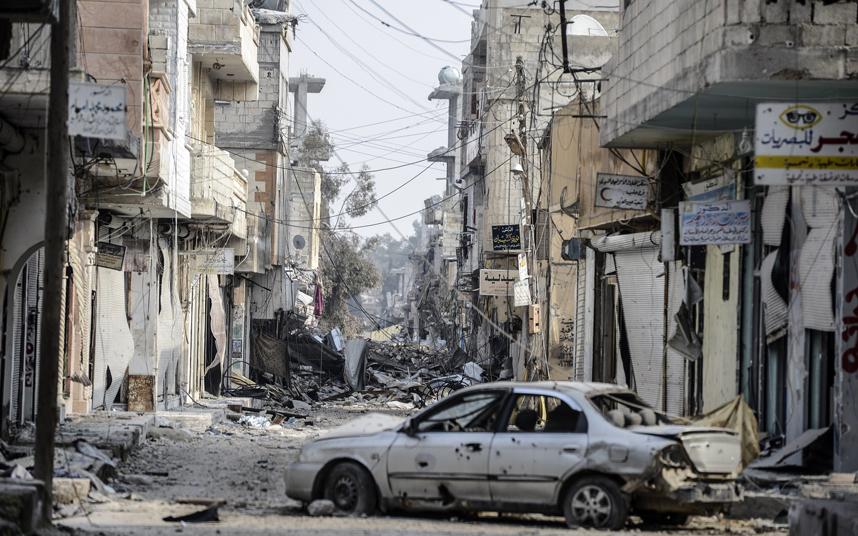 26. Город Айн-эль-Араб, известный как Коба́ни, после тяжелых боев, которые длились четыре месяца. Бюлент Кылыч / AFP / Getty Images.