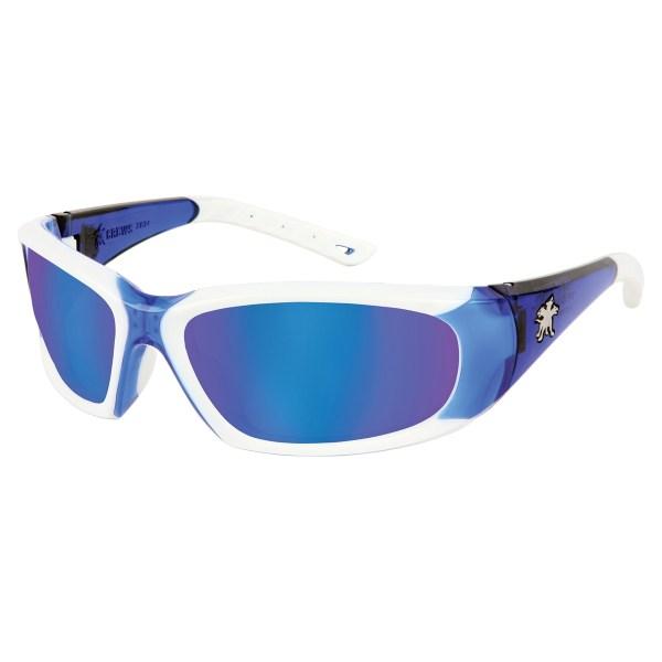 White Frame Blue Mirror Safety Glasses