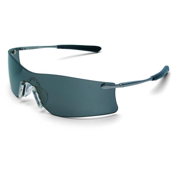 Crews Rubicon Safety Glasses - Silver Metal Temples Gray