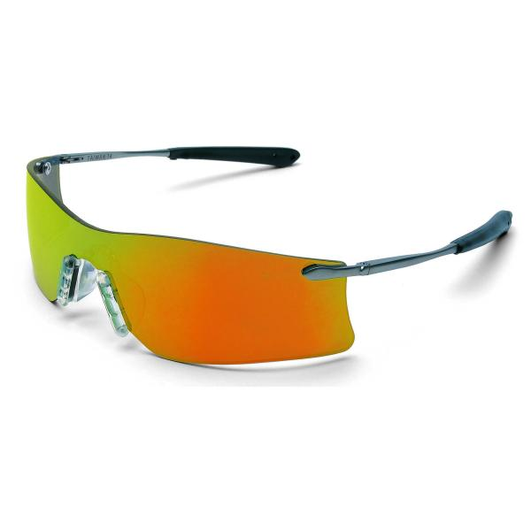 Crews Rubicon Safety Glasses - Silver Metal Frame Fire