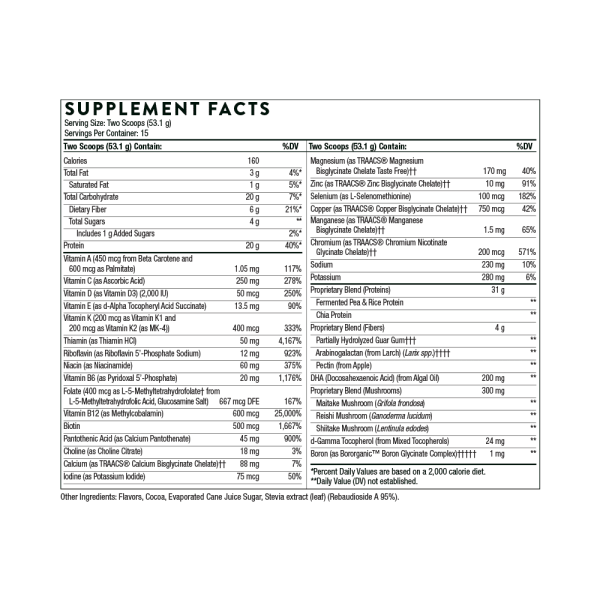 VeganPro Complex Chocolate Ingredients