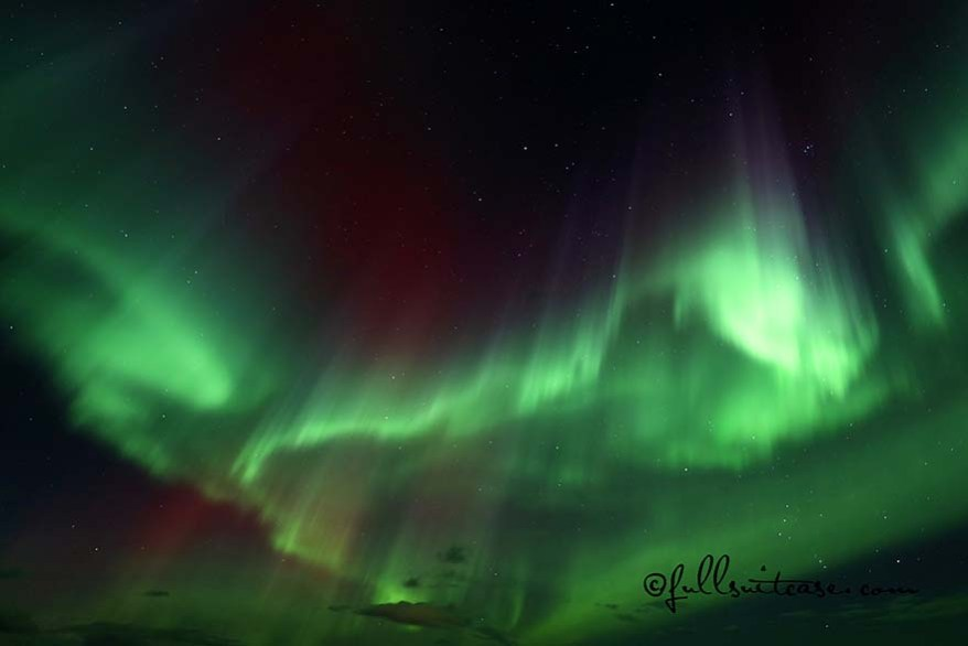 Multicolored aurora borealis display in Iceland