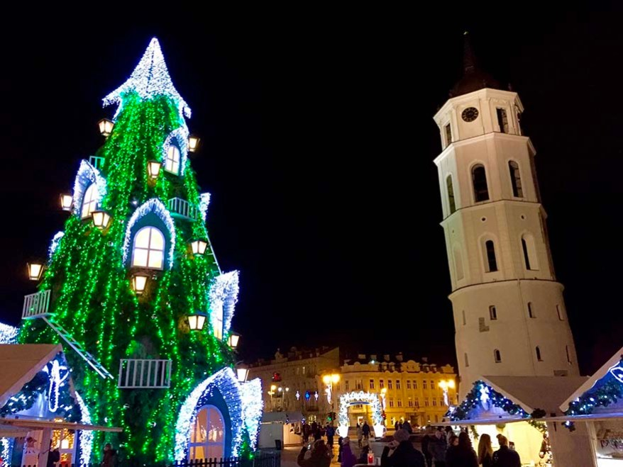 The world's most beautiful Christmas tree stands in Vilnius Lithuania