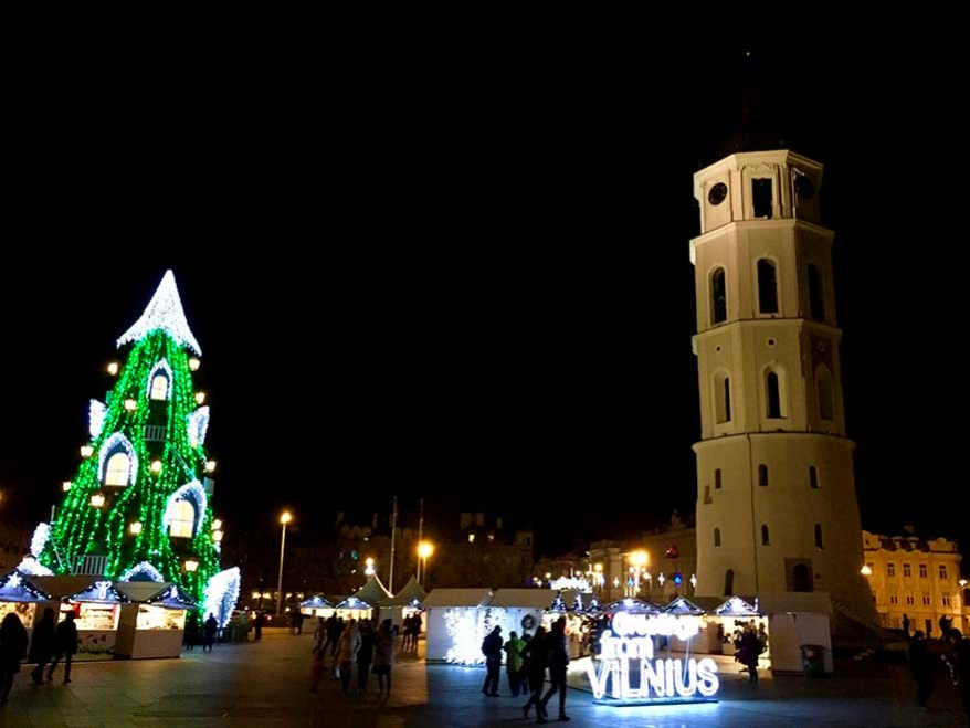 Vilnius, Lithuania, cathedral square decorated for Christmas