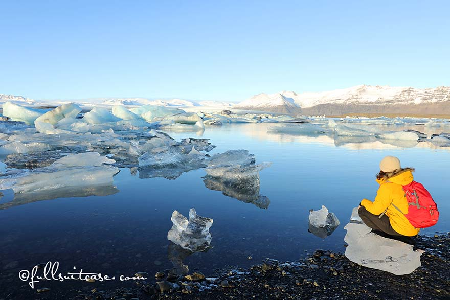 Hiking at Jokulsarlon Glacier Lagoon in Iceland