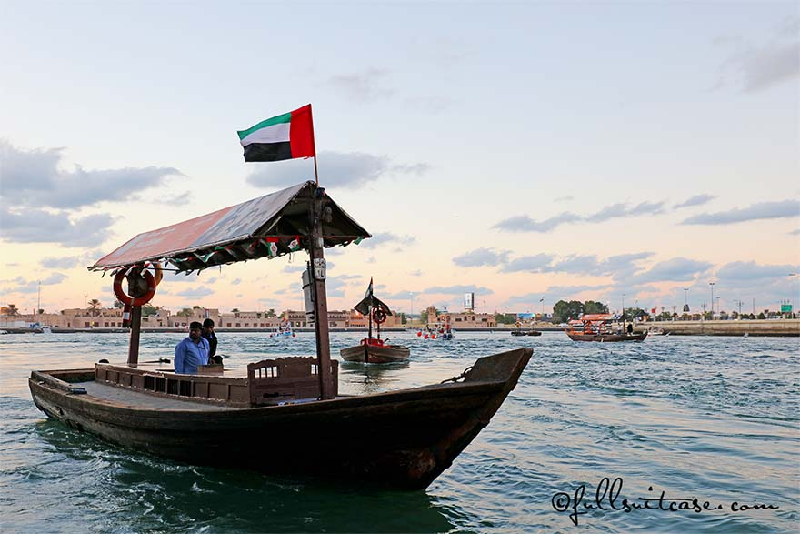 Dubai Creek water taxi Abra at sunset